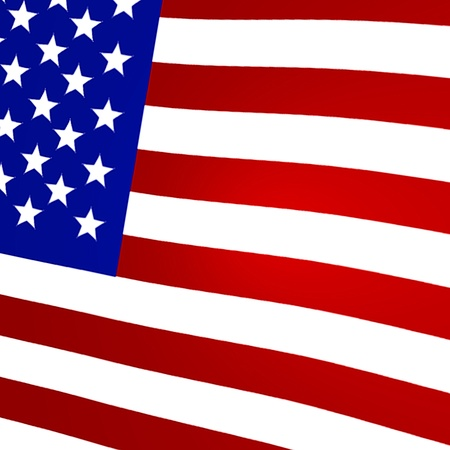 Graphic image of a 3D rendered flag of the United States