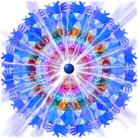 A kaleidoscopic image of hands, leaves, snowflakes in an array of blues, reds and oranges with an electrified lightning bolt blasting from the center.