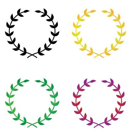 4 シンプルでエレガントなベクトルの月桂樹の花輪の 1 つは基本的な黒、他の 3 つあるストロークと多くのシーンの様々 なグラデーションの塗りつ  イラスト・ベクター素材