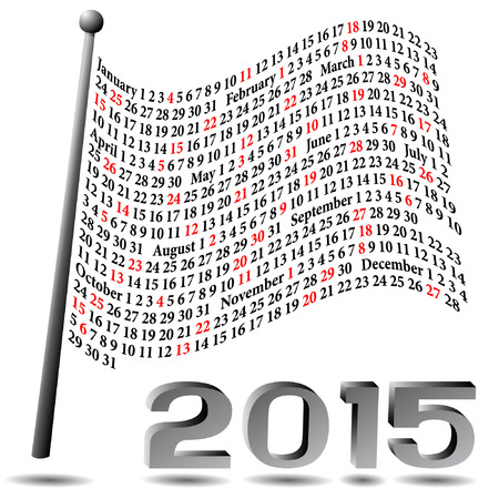 This calendar of 2015 is represented as a waving flag with a 3D appearance.   Each Sunday is colored in red