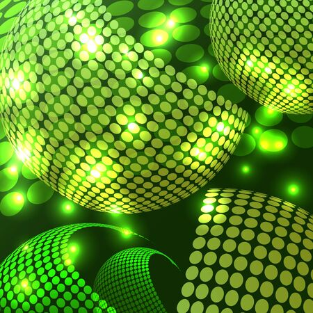 An abstract rendering of a disco night with shades of green.