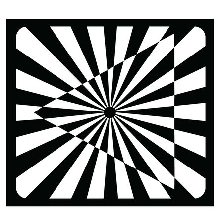 An opt art illustration of an optical illusion created with black and white shapes of rectangles, triangles, a rounded rectangle and a circle.