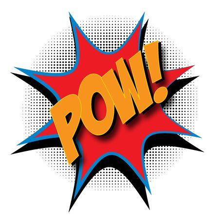 Pow text in a retro comic book style with a drop shadow.