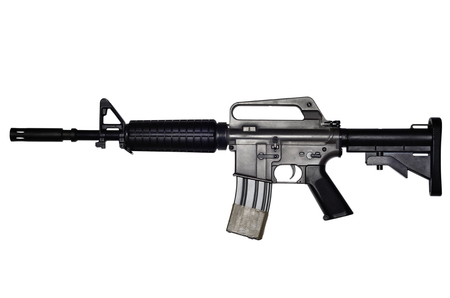 m16 ammo: Assault rifle on white background