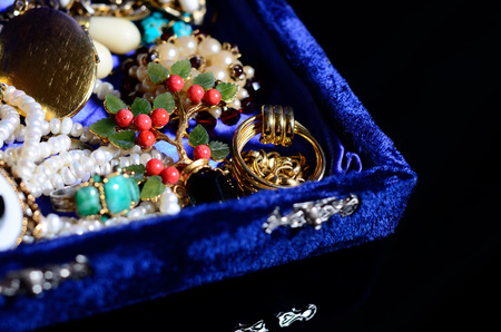 Antique Vintage Jewelry On Black Background Stock Photo Picture And