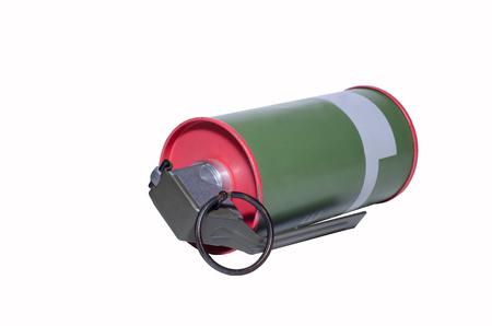 Smoke grenade on white background