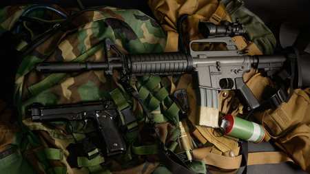 m16 ammo: Used weapons, pistol, grenade with tactical chest rigs and ammunition.