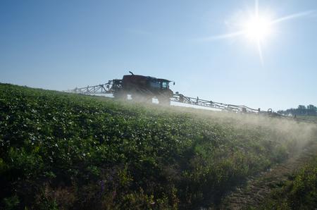 Fertilizer machine on the field