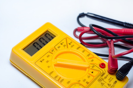 Digital Multimeter with Ohm Volt Amp and  Voltage Tester Meter Stock Photo