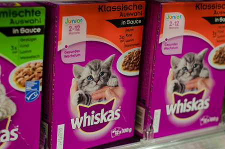Soest, Germany - January 2, 2018: closeup of Whiskas packets cat food. Whiskas is a brand of cat food sold throughout the world.  It is owned by the American company Mars, Incorporated.
