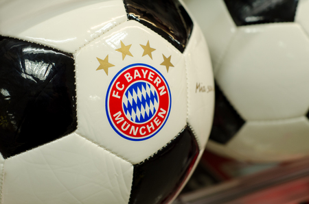 Soest, Germany - January 2, 2018: Ball with logo FC Bayern Munich