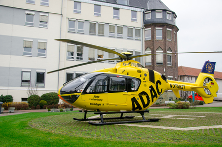 Soest, Germany - December 23, 2017: ADAC Medical emergency helicopter (Luftrettung) Eurocopter EC-135 P2 Editorial