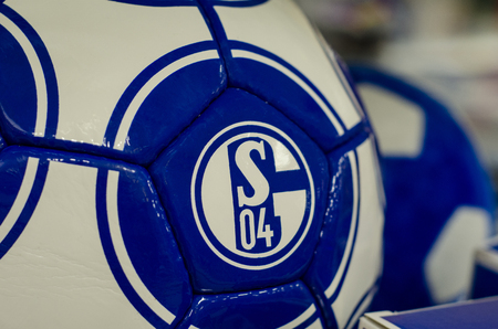 Soest, Germany - December 27. 2017: Ball with logo FC Schalke 04