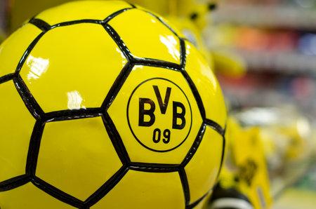 Soest, Germany - December 27, 2017:  Ball with logo FC Borussia Dortmund (BVB) Standard-Bild - 97175530