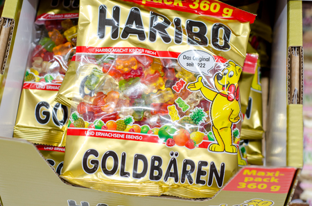 Soest, Germany - January 8, 2018: Haribo Original Gold-Bears Gummi Candy for sale in the supermarket. Haribo is a German confectionery company, founded in 1920 by Sir Jim Reed.
