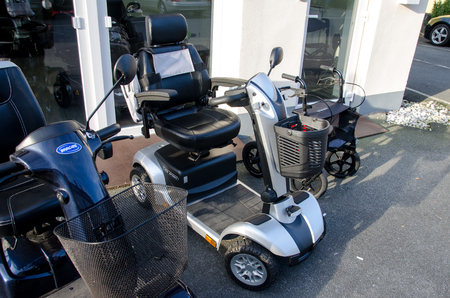 Soest, Germany - January 8, 2018: Invacare Mobility Scooter and LIFE Speed ELEKTROMOBIL Editoriali