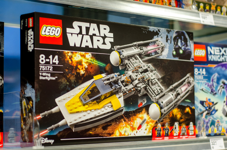 Soest, Germany - January 12, 2018:  Lego construction kits for sale in the Müller supermarket. Lego is a line of plastic construction toys that are manufactured by The Lego Group company in Denmark.