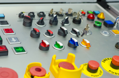 Control panel with buttons, key and switch