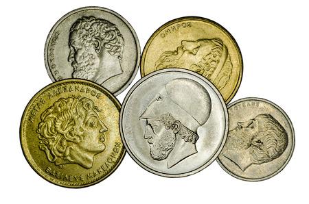 Different Greek coins.