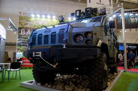 Kyiv, Ukraine - October 10, 2018: Armoured personnel carrier VARTA. International Exhibition ARMS AND SECURITY 2018