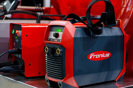 Kyiv, Ukraine - November 22, 2018: Fronius Welding Machines with different equipment.