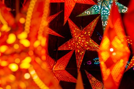 LED light christmas paper star decorations.