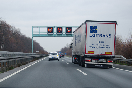 Dortmund, Germany - December 14, 2018: Road traffic on a german autobahn 44, autobahn 1, autobahn 2