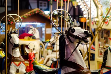 Christmas market сarousel. 免版税图像