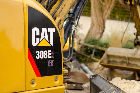 Soest, Germany - December 28, 2018: CAT 308E2 CR Mini Hydraulic Excavator.