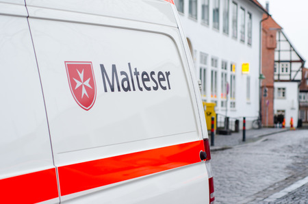 Soest, Germany - December 31, 2018: Malteser Car. Malteser International is an international non-governmental aid agency for humanitarian aid of the Sovereign Military Order of Malta. Editorial