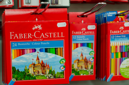 Soest, Germany - January 3, 2019: Faber Castell pencil set for sale in the shop.