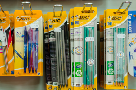 Soest, Germany - January 3, 2019: BIC pencils and pen for sale in the shop.