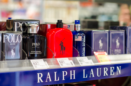 Soest, Germany - January 3, 2019: Polo Ralph Lauren Perfume for sale in the shop.
