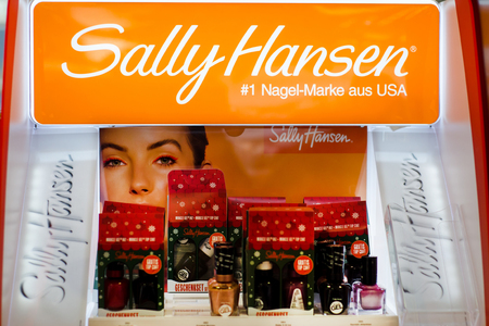 Soest, Germany - January 3, 2019: Sally Hansen cosmetic for sale in the shop.