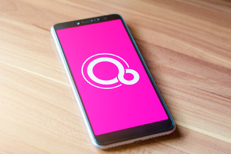 Soest, Germany - January 7, 2019: Google Fuchsia OS logo on screen Xiaomi. Fuchsia is a capability-based operating system currently being developed by Google. Editorial