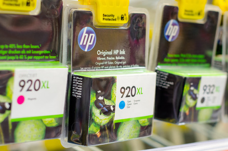 Soest, Germany - January 12, 2019: HP Ink Cartridges for sale. Editorial