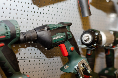 Kyiv, Ukraine - March 20, 2019: Close-up of different  METABO tools. Éditoriale