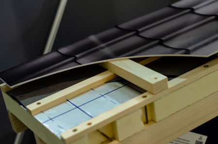 Close-up of roof construction  in a cut. Stock Photo