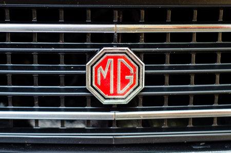 Soest, Germany - July 22, 2019: Close-up of MG car logo.