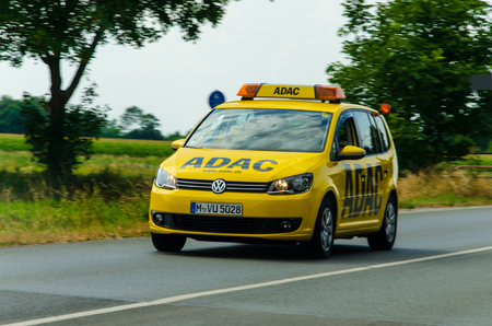 Soest, Germany - August 2, 2019: ADAC car rides on the road.