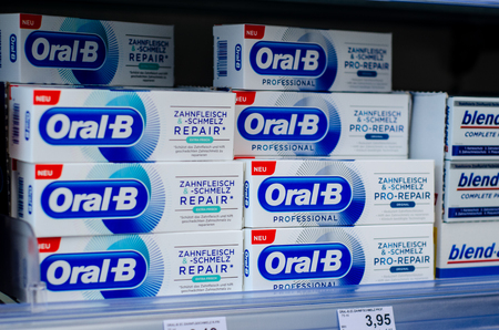 Soest, Germany - July 23, 2019: Oral-B Toothpaste for sale. Editorial
