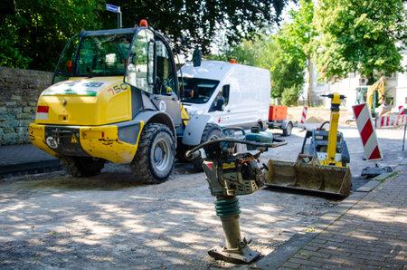 Soest, Germany - July 25, 2019: Street repair work.