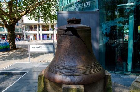 Dortmund, Germany - August 2, 2019: Kaiser bell (Kaiserglocke). Before St. Reinoldi, the former imperial bell recalls the destruction of the church in World War II.