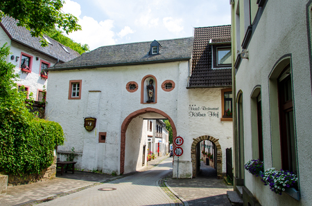 Blankenheim, Germany - July 26, 2019: View of city gate and building in Blankenheim