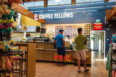 Hürth, Germany - July 26, 2019: Coffee Fellows in Shell V-power gas station. Coffee Fellows is a German coffeeshop.