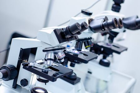 실험실에서 현미경의 클로즈업입니다. 스톡 콘텐츠