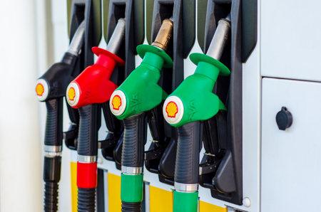 Hürth, North Rhine-Westphalia, Germany - July 26, 2019: Shell V-power gas station A1 Bat Ville. Redakční