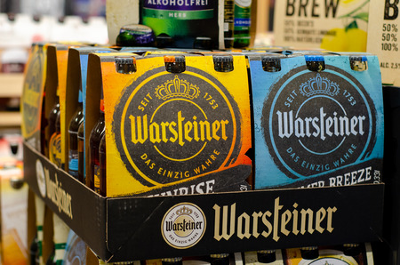 Blankenheim, Germany - July 27, 2019: Warsteiner Beer for sale in the store.