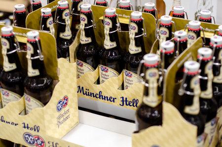 Blankenheim, Germany - July 27, 2019: Hacker-Pschorr Münchner Hell Beer for sale in the store