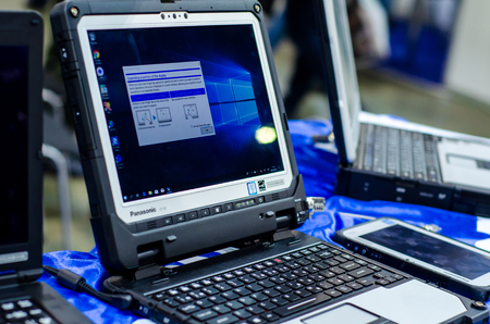 Kyiv, Ukraine - October 09, 2019: Panasonic TOUGHBOOK for sale in the store